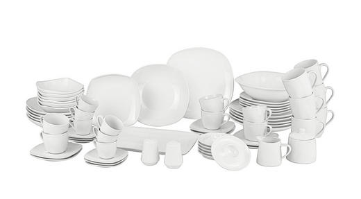 Porzellan  KOMBISERVICE 66-teilig - Weiß, KONVENTIONELL, Keramik - Boxxx