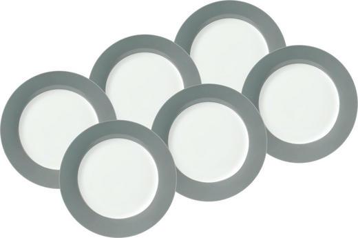 DESSERTTELLERSET Keramik Porzellan 6-teilig - Weiß/Grau, Basics, Keramik (20cm)