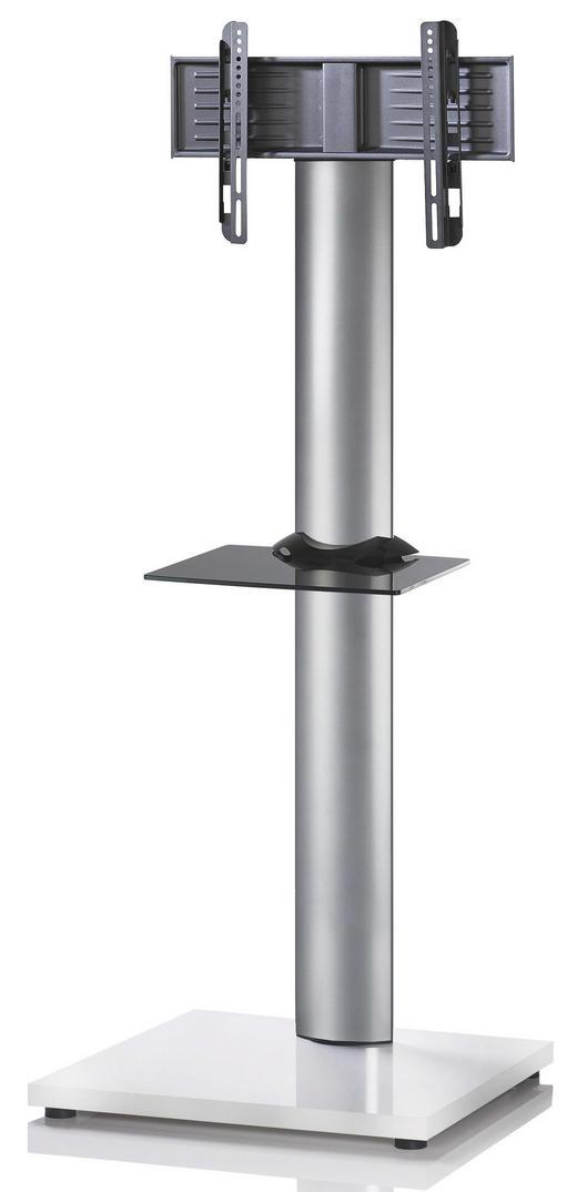 TV-RACK Glas, Metall Schwarz, Silberfarben, Weiß - Silberfarben/Schwarz, KONVENTIONELL, Glas/Metall (68/174/60cm)