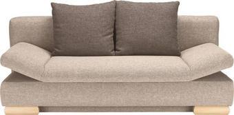 SCHLAFSOFA Webstoff Beige, Braun - Beige/Braun, KONVENTIONELL, Holz/Textil (195/75/90/145cm) - NOVEL
