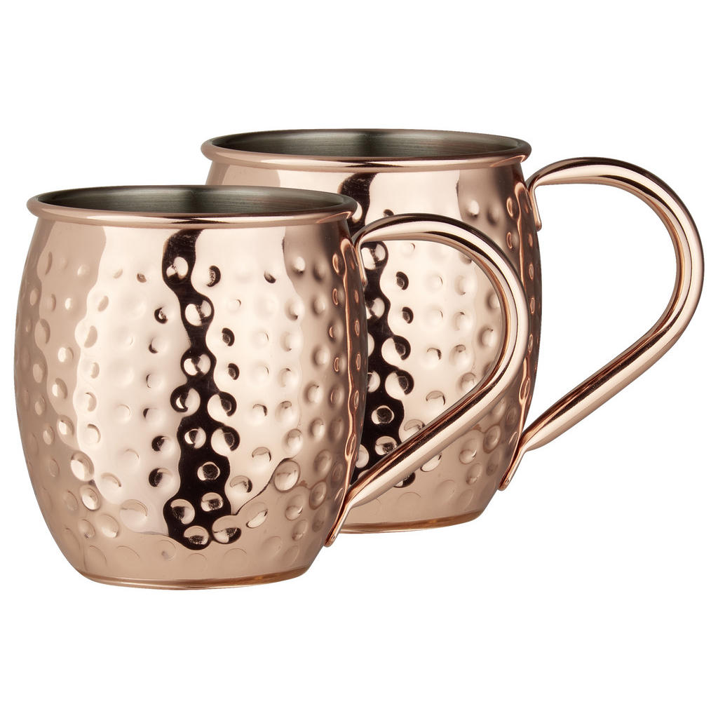 Image of Homeware Profession. Moscow mule 2er sest , Moscow Mule , Kupferfarben , Metall , 550 ml , verchromt , 0049010125