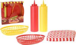 Grillset 5-teilig Gelb, Rot - Gelb/Rot, Kunststoff (24/24/6cm) - BOXXX