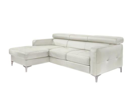 Ecksofa Lederlook Rücken echt Weiß - Silberfarben/Weiß, Design, Textil (169/226cm) - Carryhome