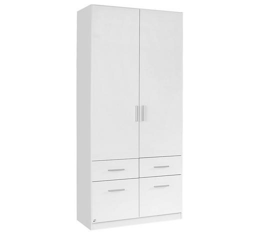 KLEIDERSCHRANK 2-türig Weiß  - Alufarben/Weiß, Design, Kunststoff (91/210/54cm) - Carryhome