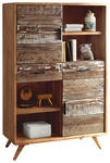 HIGHBOARD Akazie massiv lackiert - Schwarz, LIFESTYLE, Holz/Metall (118/165/40cm) - Hom`in