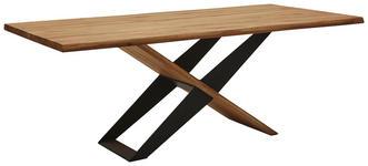 ESSTISCH Eiche massiv rechteckig Eichefarben  - Eichefarben/Schwarz, Design, Holz/Metall (200/100/77cm) - Valnatura