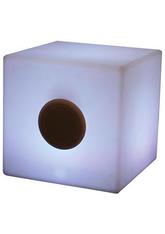 LED-LAMPE CUBE - Weiß, Design, Kunststoff (35/35/35cm)
