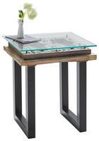 BEISTELLTISCH Mangoholz massiv quadratisch Multicolor - Multicolor/Schwarz, Design, Glas/Metall (50/50/45cm) - Kare-Design