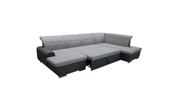 Wohnlandschaft inkl. Funktion Grau, Silberfarben Webstoff  - Silberfarben/Grau, Design, Textil/Metall (145/342/208cm) - Cantus
