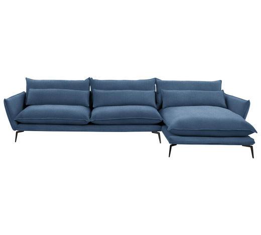 WOHNLANDSCHAFT in Textil Blau  - Blau/Schwarz, Design, Textil/Metall (338/165cm) - Hom`in