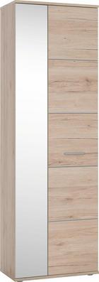 GARDEROBENSCHRANK - Eichefarben/Silberfarben, KONVENTIONELL, Holzwerkstoff/Kunststoff (64/198/36cm) - BOXXX