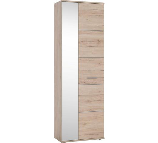 GARDEROBENSCHRANK 64/198/36 cm - Eichefarben/Silberfarben, KONVENTIONELL, Holzwerkstoff/Kunststoff (64/198/36cm) - Boxxx
