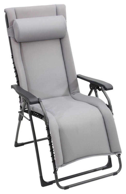 GARTEN-RELAXSESSEL Stahl - Anthrazit/Grau, KONVENTIONELL, Textil/Metall (60/120/64cm)