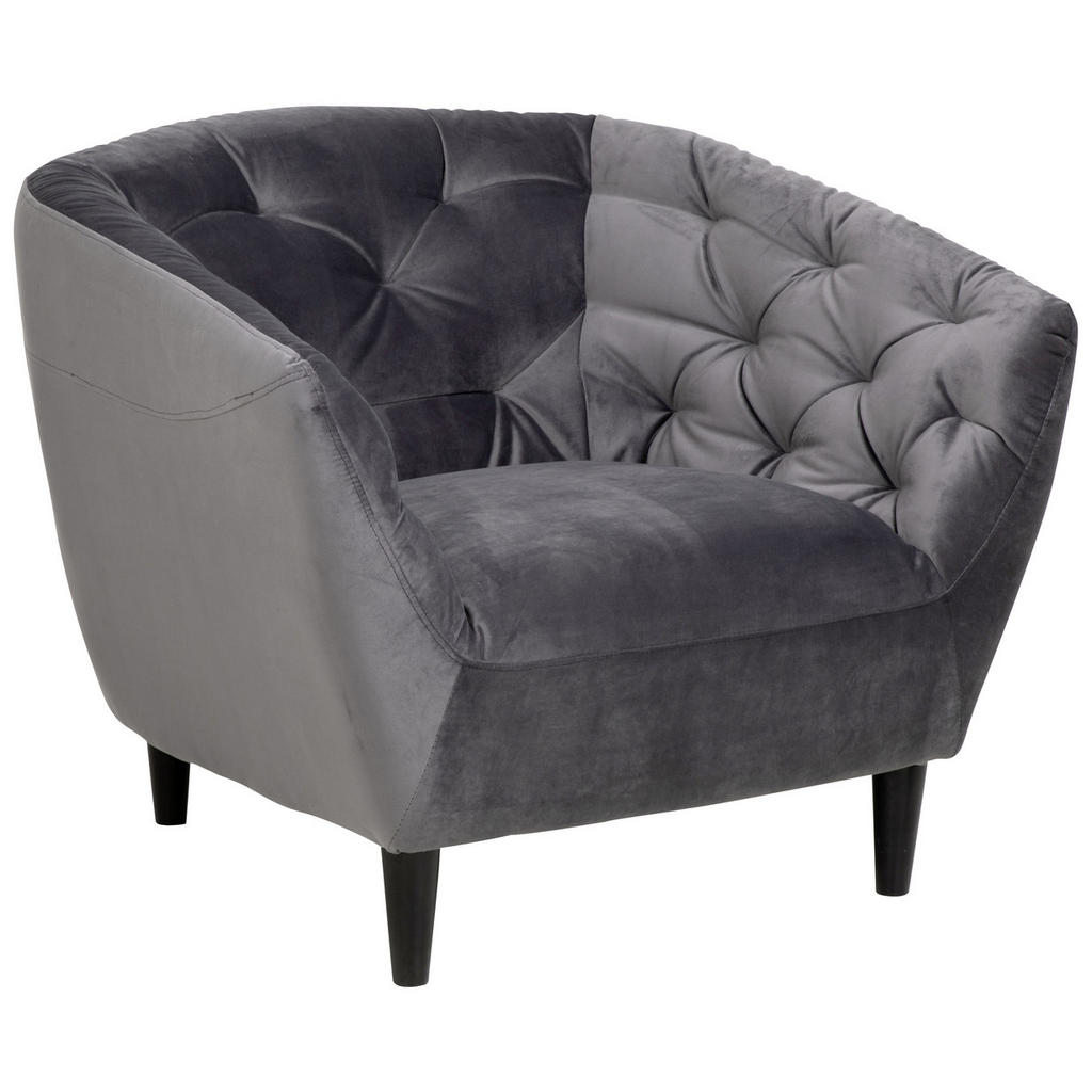 Ambia Home CHESTERFIELD-SESSEL Samt Dunkelgrau