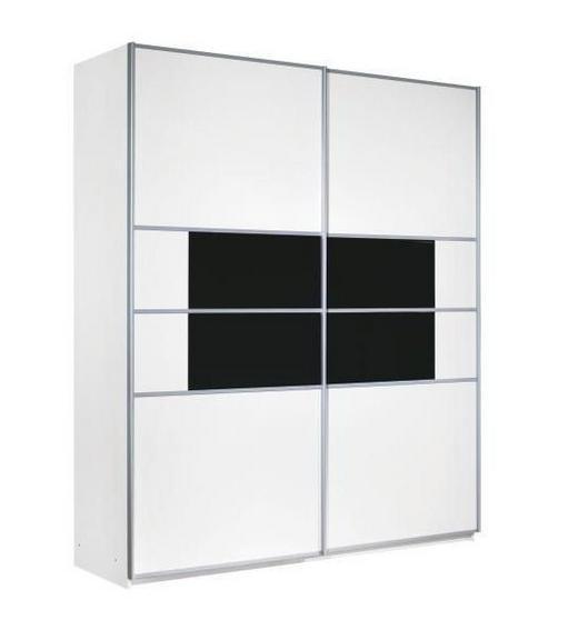 SKŘÍŇ S POSUVNÝMI DVEŘMI, bílá, černá - bílá/černá, Design, kov/dřevěný materiál (226/223/67cm) - Carryhome