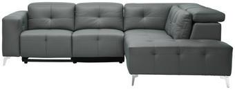 WOHNLANDSCHAFT in Grau Leder, Metall, Textil - Chromfarben/Grau, Design, Leder/Textil (264/227cm) - XORA