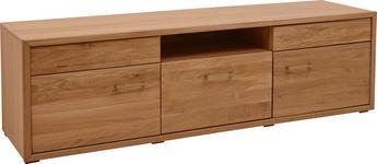 LOWBOARD in Eichefarben - Eichefarben/Nickelfarben, KONVENTIONELL, Holz/Holzwerkstoff (185,6/54,3/47,6cm) - Voleo