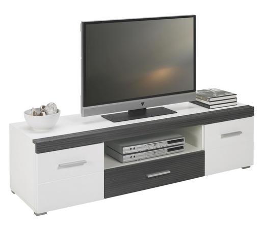 LOWBOARD Pinienfarben, Weiß - Silberfarben/Weiß, Design, Kunststoff (150/40/45cm) - BOXXX