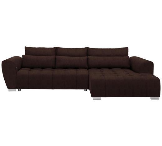 WOHNLANDSCHAFT in Textil Braun  - Silberfarben/Braun, MODERN, Kunststoff/Textil (304/218cm) - Carryhome