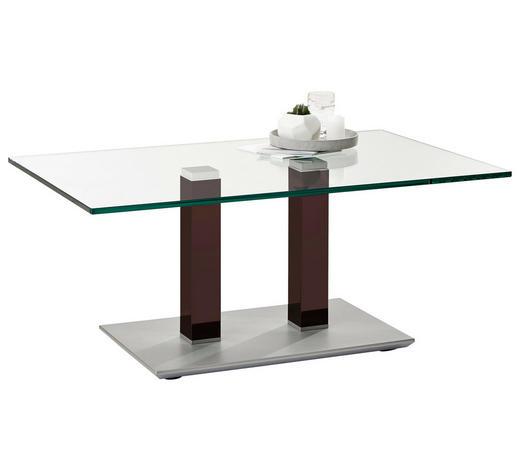 COUCHTISCH in Metall, Glas 110/70/46-65 cm - Edelstahlfarben/Braun, Design, Glas/Kunststoff (110/70/46-65cm)