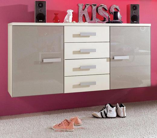 KOMMODE Grau, Weiß - Alufarben/Weiß, Basics, Glas/Holzwerkstoff (150/75,60/44,30cm) - Xora