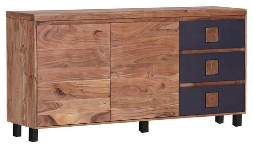 SIDEBOARD Akazie massiv gebeizt, gewachst, lackiert Akaziefarben, Anthrazit - Anthrazit/Akaziefarben, Natur, Holz (150/80/40cm) - Carryhome