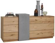 SIDEBOARD Kerneiche massiv matt, lackiert, gebürstet, gewachst Grau, Eichefarben  - Eichefarben/Grau, Natur, Holz (197/94/47cm) - Valnatura