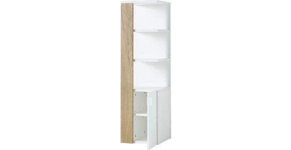 BADEZIMMERREGAL 30/107/32 cm - Edelstahlfarben/Eichefarben, Design, Holzwerkstoff/Metall (30/107/32cm) - Xora