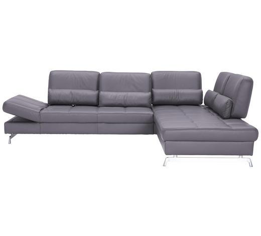 WOHNLANDSCHAFT in Grau Leder   - Alufarben/Grau, Design, Leder/Metall (299/250cm) - Joop!
