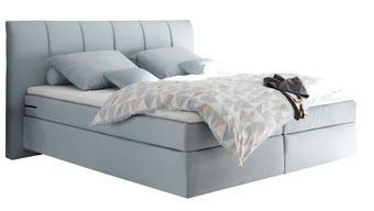 BOXSPRING KREVET - svijetlo plava, Design, drvni materijal/tekstil (204/115/211cm) - TI`ME