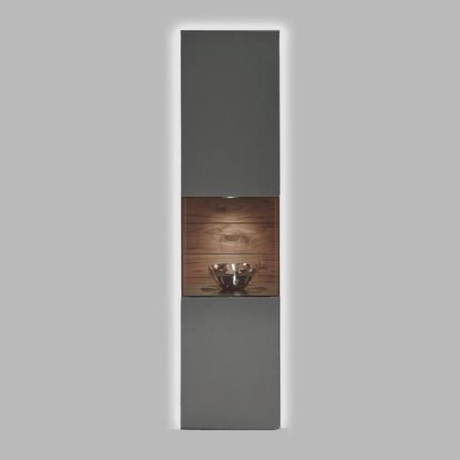 VITRINE Kernnussbaum massiv Grau, Nussbaumfarben - Nussbaumfarben/Grau, Design, Holz/Holzwerkstoff (52,8/211,2/45cm) - Hülsta