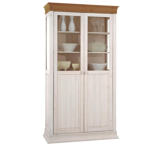 VITRINE Kiefer massiv Weiß, Kieferfarben - Weiß/Kieferfarben, Design, Holz (110/210/45cm) - Carryhome
