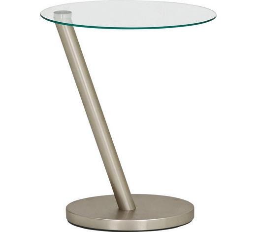 BEISTELLTISCH in Edelstahlfarben, Klar - Klar/Edelstahlfarben, Design, Glas/Metall (40/48/30cm)