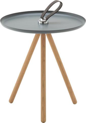 BEISTELLTISCH rund Dunkelbraun, Grau - Dunkelbraun/Grau, Design, Holz/Metall (40/45cm) - Rolf Benz