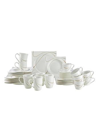 SERVIS KOMBINOVANÝ, 36-dílné, porcelán - bílá/hnědá, Basics, keramika - Ritzenhoff Breker