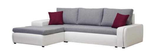 WOHNLANDSCHAFT in Textil Grau, Lila, Weiß - Lila/Schwarz, Design, Kunststoff/Textil (185/280cm) - Carryhome