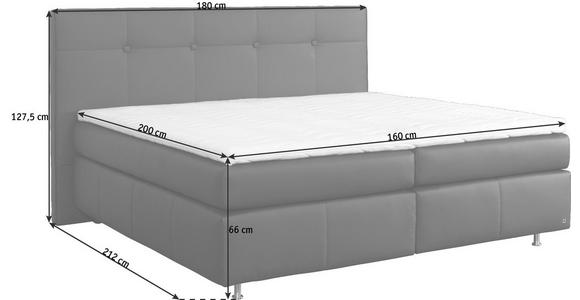 BOXSPRINGBETT Lederlook 160/200 cm  INKL. Matratze, Topper  - Dunkelbraun/Alufarben, KONVENTIONELL, Textil/Metall (160/200cm) - Dieter Knoll