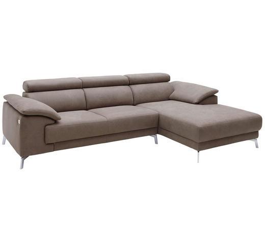 WOHNLANDSCHAFT in Textil Fango  - Chromfarben/Fango, LIFESTYLE, Textil/Metall (268/175cm) - Pure Home Lifestyle