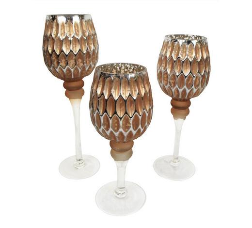 Teelicht-Set 3-teilig 3  - Goldfarben/Braun, Glas
