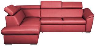 WOHNLANDSCHAFT in Leder Rot - Rot/Silberfarben, Design, Leder/Metall (210/88/260cm) - Cantus