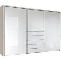 SCHWEBETÜRENSCHRANK in Weiß - Chromfarben/Weiß, Design, Glas/Holzwerkstoff (298/240/68cm) - Moderano