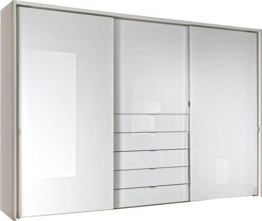 SCHWEBETÜRENSCHRANK 3-türig Weiß - Chromfarben/Weiß, Design, Glas/Holzwerkstoff (298/240/68cm) - Moderano
