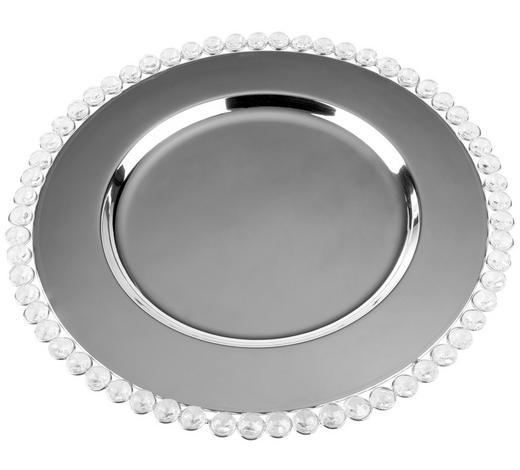 Platzteller - Silberfarben, Lifestyle, Glas/Metall (34cm) - Ambia Home