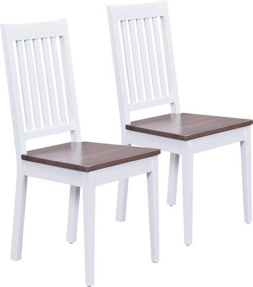STUHL-SET Buche massiv Braun, Weiß - Weiß/Braun, LIFESTYLE, Holz (42,50/46/95/50cm) - Carryhome