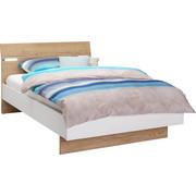 POSTELJA 120 cm   x 200 cm  , leseni material bela, hrast  - bela/hrast, Design, leseni material (120/200cm) - Hom`in