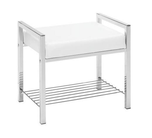 BADHOCKER Metall, Textil - Chromfarben/Weiß, Basics, Textil/Metall (50/47/38cm) - Xora