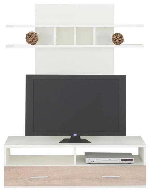 TV-ELEMENT Eichefarben, Weiß - Eichefarben/Alufarben, Design, Metall (125/163/46cm) - Cantus