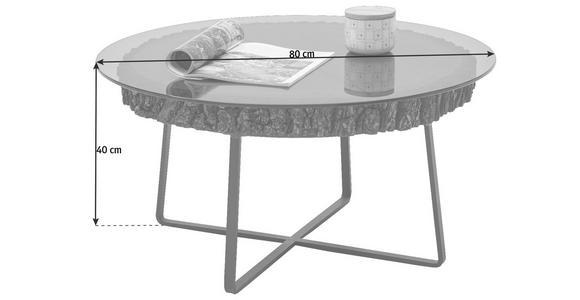 COUCHTISCH in Glas, Holz, Metall  80/40 cm - Eichefarben/Anthrazit, Design, Glas/Holz (80/40cm) - Valnatura