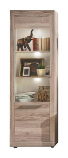 VITRÍNA, barvy dubu, bílá - bílá/barvy stříbra, Design, dřevěný materiál/umělá hmota (67/201/37cm) - Carryhome