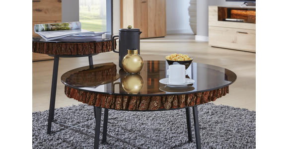 COUCHTISCH in Holz, Metall, Glas 52/52/52 cm   - Eichefarben/Anthrazit, Design, Glas/Holz (52/52/52cm) - Valnatura